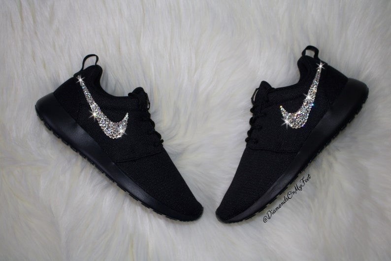 ebfa6fd0ff80 Swarovski Women s Nike Roshe Run Roshe One All Black