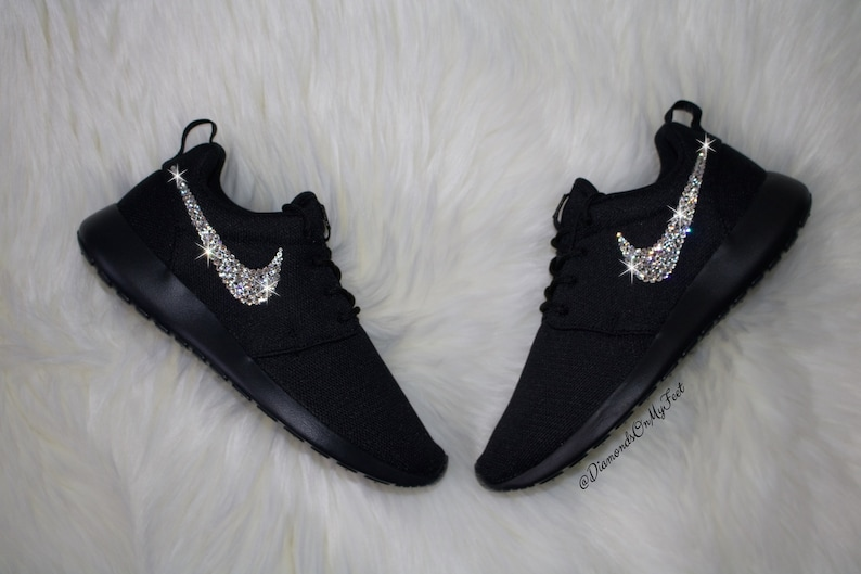 51b3112c7ce42 Swarovski Women s Nike Roshe Run Roshe One All Black
