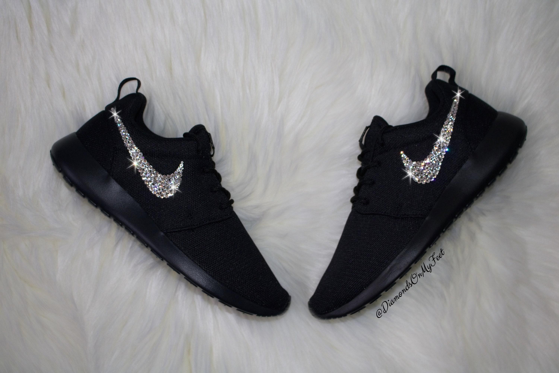 9c4d6411cb54 Swarovski Women s Nike Roshe Run Roshe One All Black