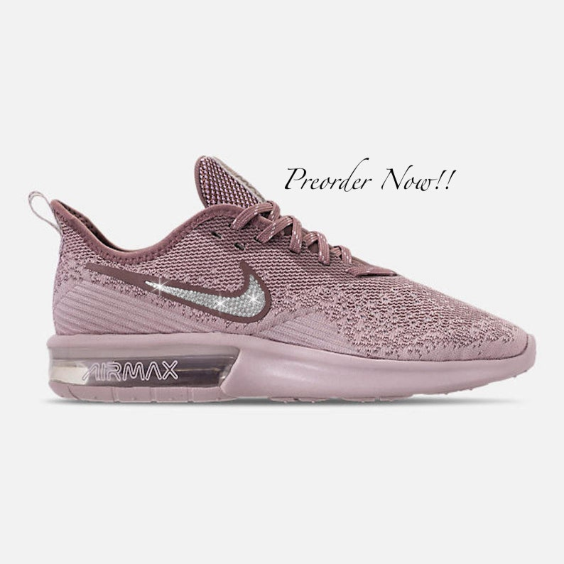 Blinged Out Authentic Nike Sequent Bling 4 Shoes Pink Custom With Clear Sneakers Crystals Swarovski Nike Max Swarovski Rose Women's Air UMpqVSz