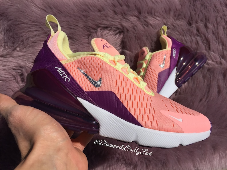 new style 73043 2c34b Swarovski Women's Nike Air Max 270 Pink Tint & Purple Sneakers Blinged Out  With Authentic Clear Swarovski Crystals Custom Bling Nike Shoes