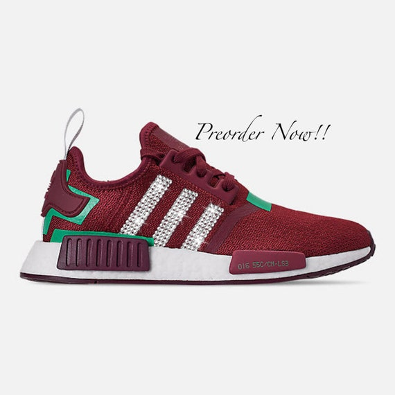 Swarovski Womens Adidas Originals NMD R1 Burgundy Red Sneakers Blinged Out With Authentic Clear Swarovski Crystals Custom Bling Adidas Shoes