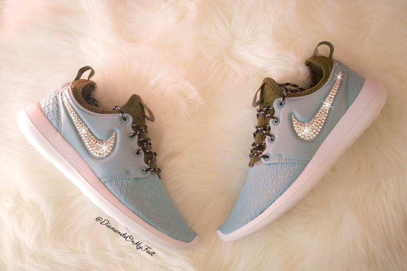 best loved 172be 58293 Size 8 - Swarovski Womens Nike Roshe Two SE Light Blue Sneakers Blinged Out  With Authentic Clear Swarovski Crystals Custom Bling Nike Shoes