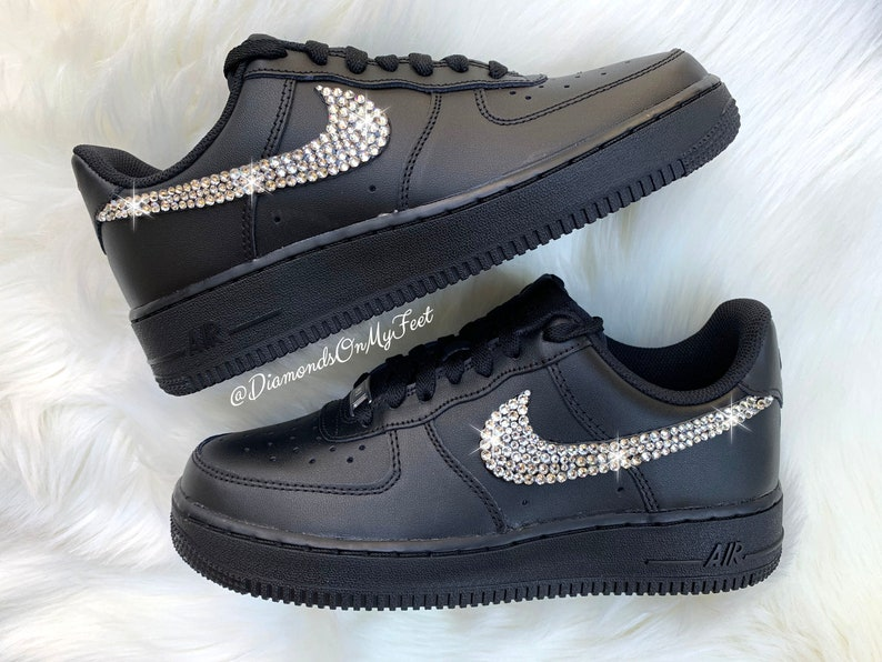 sale retailer 56fb2 4fcd4 Swarovski Women's Nike Air Force 1 All Black Low Sneakers Blinged Out With  Authentic Clear Swarovski Crystals Custom Bling Nike Shoes