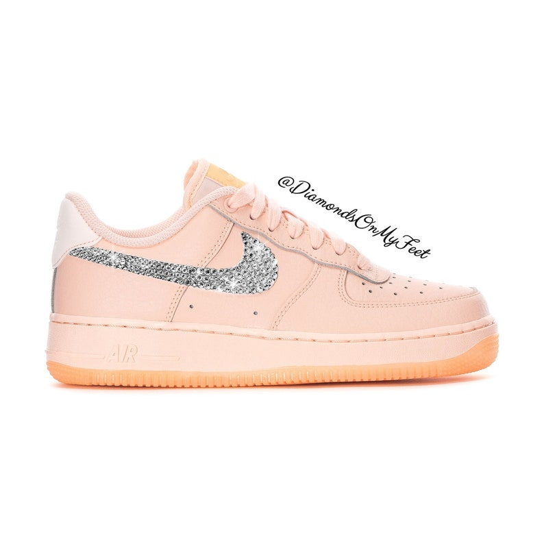 c0396fa8ee1b5 Swarovski Women's Nike Air Force 1 Light Pink Low Sneakers Blinged Out With  Authentic Clear Swarovski Crystals Custom Bling Nike Shoes