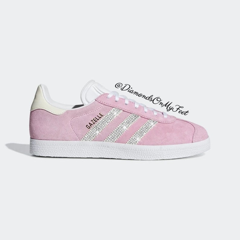 acb57ce17e Swarovski Women's Adidas Originals Gazelle Pink Sneakers Blinged With  Authentic Clear Swarovski Crystals Custom Bling Adidas Shoes