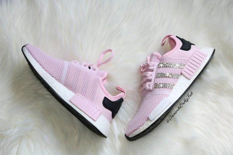27d87d442 Swarovski Womens Adidas Originals NMD R1 Light Pink Sneakers