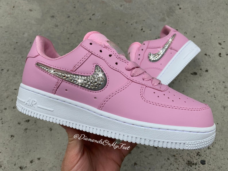 deb49be8bef98 Swarovski Women's Nike Air Force 1 SE '07 Pink Low Top Sneakers Blinged Out  With Authentic Clear Swarovski Crystals Custom Bling Nike Shoes