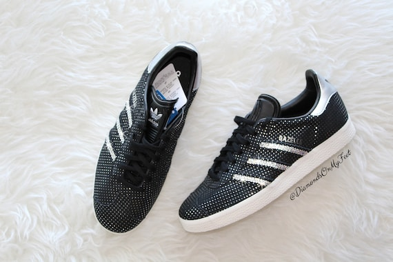 Swarovski Women's Adidas Originals Gazelle Black & Silver Sneakers Blinged With Authentic Clear Swarovski Crystals Custom Bling Adidas Shoes