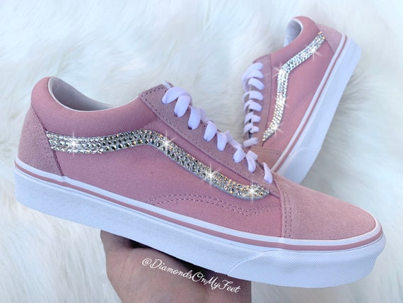 Swarovski Women es Vans Old Skool Light Pink Low Top Shoes Sneakers Blinged Out With Authentic Clear Swarovski Crystals Custom Bling Shoes