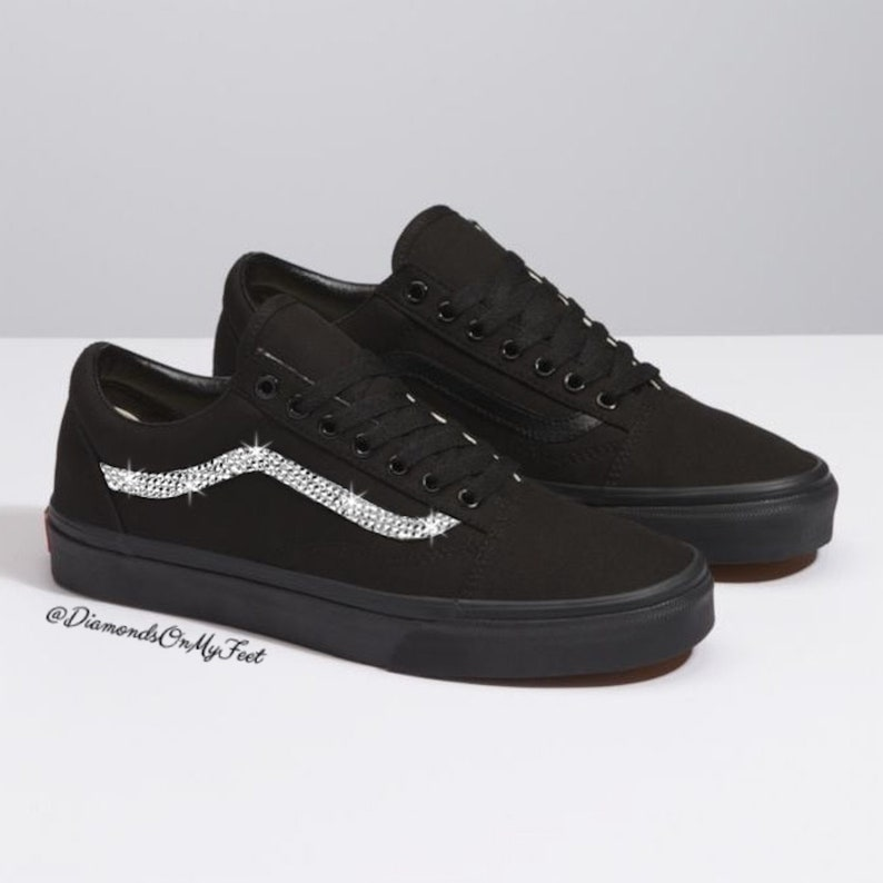 45b6a3d9b7f45 Swarovski Women's Vans Old Skool All Black Low Top Shoes Sneakers Blinged  Out With Authentic Clear Swarovski Crystals Custom Bling Shoes