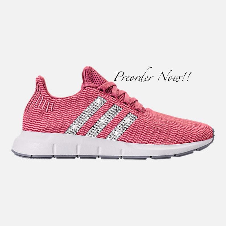 9977d7dd85d4d Swarovski Women s Adidas Swift Run Maroon Pink Sneakers
