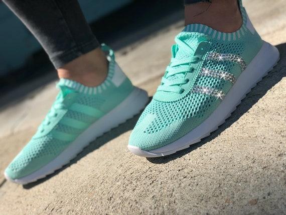 the best attitude 9ee22 0ddb6 Swarovski Womens Adidas Flashback Primeknit Mint Green  Etsy