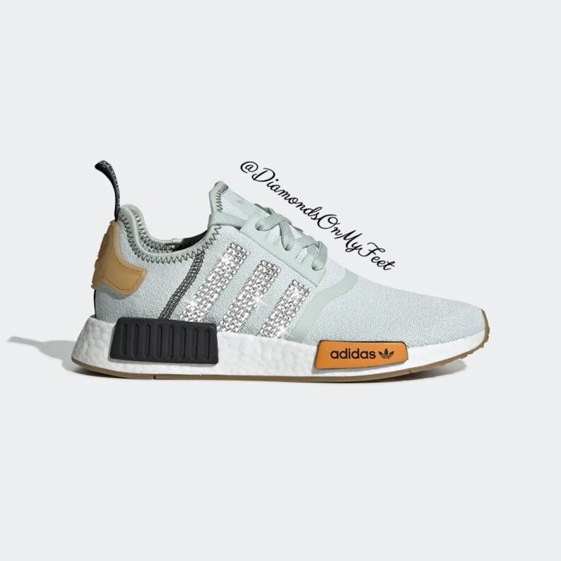 super popular 2603d 60bc0 Swarovski Womens Adidas Originals NMD R1 Mint Green Sneakers Blinged Out  With Authentic Clear Swarovski Crystals Custom Bling Adidas Shoes