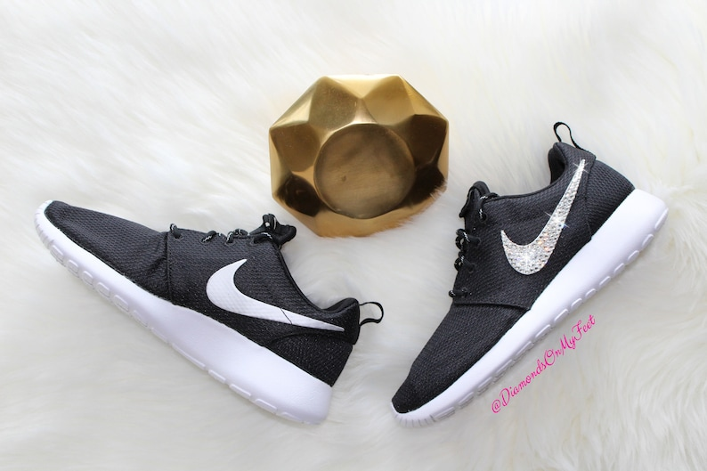 9881a9992089 Swarovski Women s Nike Roshe Run One Black   White