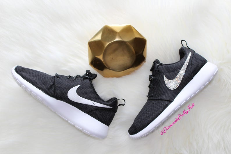 d9c1f15dccba1 Swarovski Women's Nike Roshe Run One Black & White Sneakers Blinged Out  With Authentic Clear Swarovski Crystals Custom Bling Nike Shoes