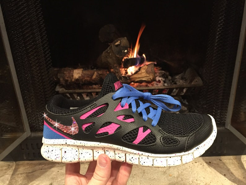 on sale f37ab d3b11 Size 6.5 - Swarovski Women's Nike Free Run 2 Black Pink & Blue Sneakers  Blinged Out With Authentic Pink Swarovski Crystals Bling Nike Shoes