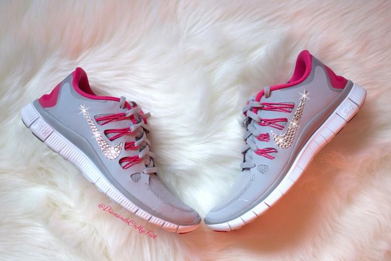 90f7e0deb351f Swarovski Women's Nike Free Run 5.0 Gray & Dark Pink | Etsy