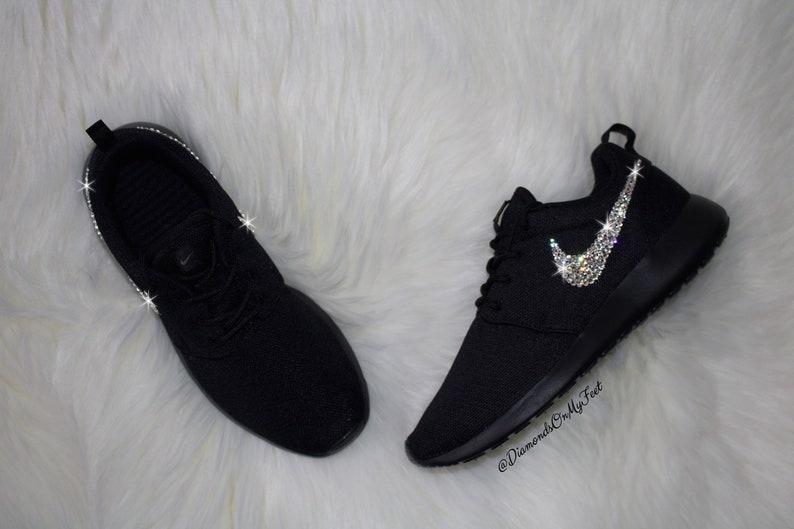 new concept 3cd30 01580 Swarovski Women s Nike Roshe Run Roshe One All Black   Etsy