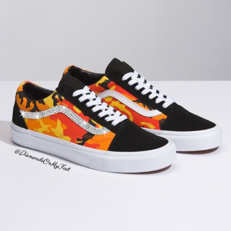 0d48fc6b813fd Swarovski Women's Vans Old Skool Orange Camouflage Low Shoes Sneakers  Blinged Out With Authentic Clear Swarovski Crystals Custom Bling Shoes