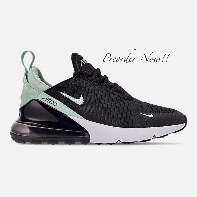 Swarovski Women's Nike Air Max 270 Black & Mint Green Sneakers Blinged Out With Authentic Clear Swarovski Crystals Custom Bling Nike Shoes