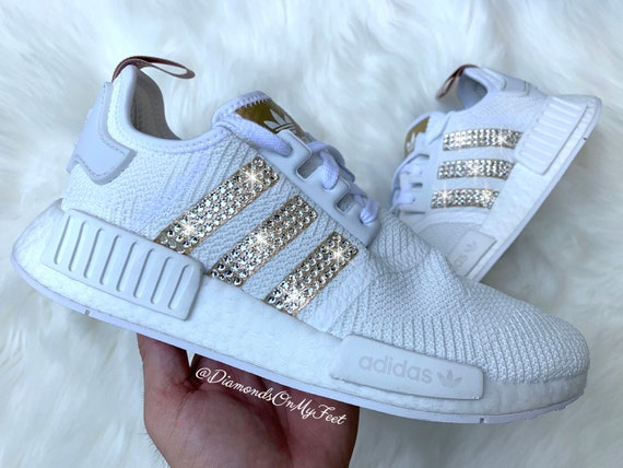 Swarovski Womens Adidas Originals NMD R1 White & Gold Sneakers Blinged Out With Authentic Clear Swarovski Crystals Custom Bling Adidas Shoes