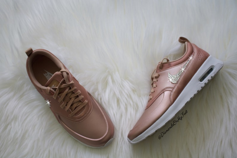 c939492f889 Swarovski Women's Nike Air Max Thea Rose Gold & White Sneakers Blinged Out  With Authentic Clear Swarovski Crystals Custom Bling Nike Shoes