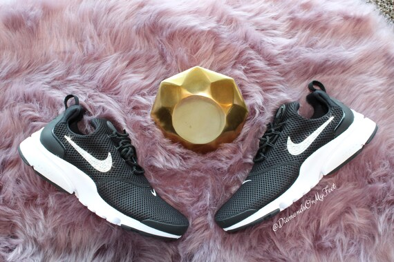 Swarovski Women s Nike Presto Fly Black   White Sneakers  890220c5a1ec