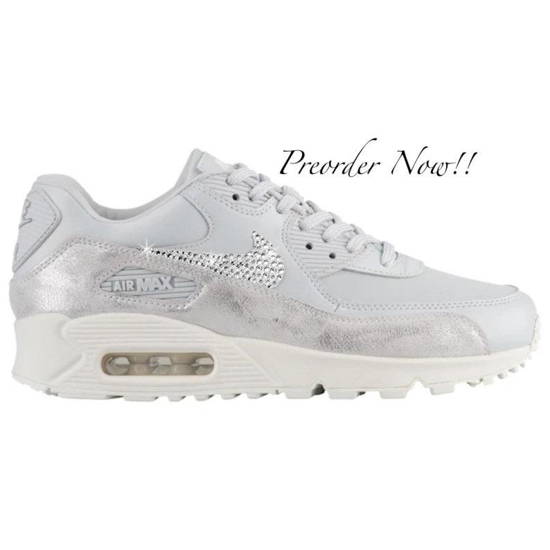 8ecb2ba7b Swarovski Women s Nike Air Max 90 Pure Platinum Sneakers