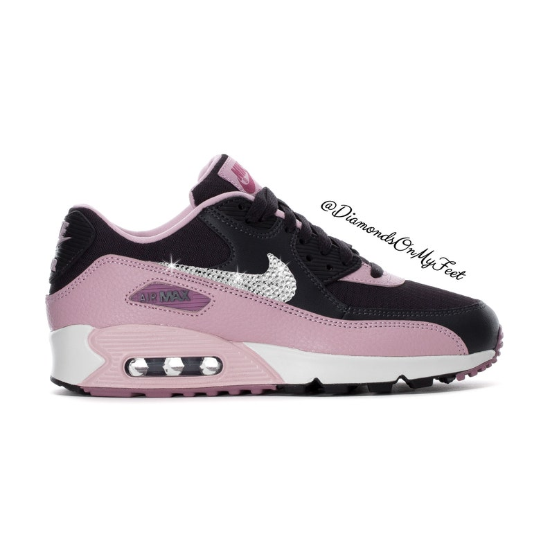 huge discount b424c aca0b Swarovski Women's Nike Air Max 90 Pink & Black Shoes Sneakers Blinged Out  With Authentic Clear Swarovski Crystals Custom Bling Nike Shoes