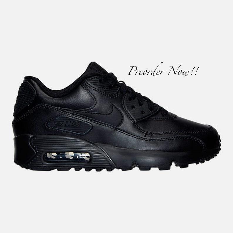 best service 1150e 8e510 Swarovski Women s Nike Air Max 90 All Black Sneakers   Etsy