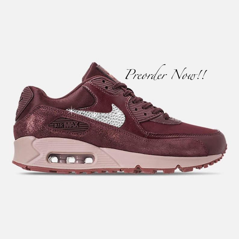 newest d8c83 885a3 Swarovski Women s Nike Air Max 90 Shiny Burgundy Sneakers   Etsy