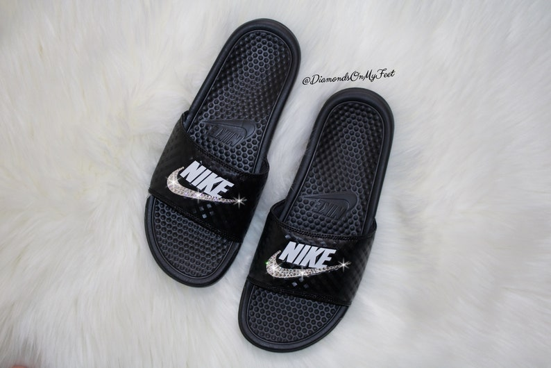 128bbe271e8c Swarovski Women s Nike Benassi JDI Swoosh Black Slides