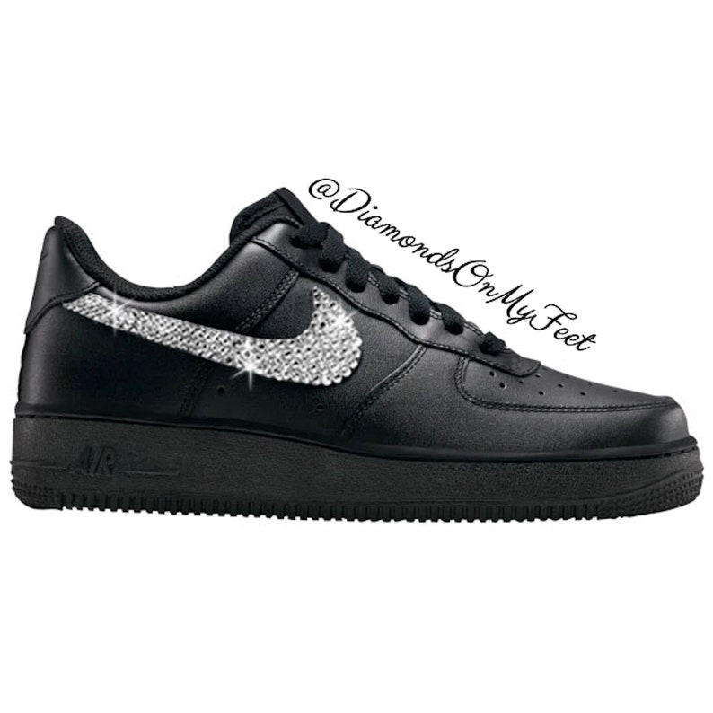 edb24dacc2e8f Swarovski Women's Nike Air Force 1 All Black Low Sneakers Blinged Out With  Authentic Clear Swarovski Crystals Custom Bling Nike Shoes