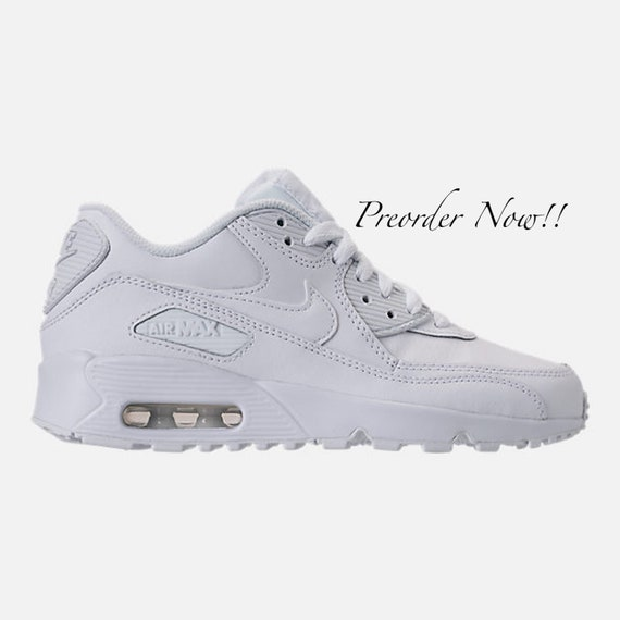 Swarovski Women s Nike Air Max 90 All White Sneakers  630bfd99e858