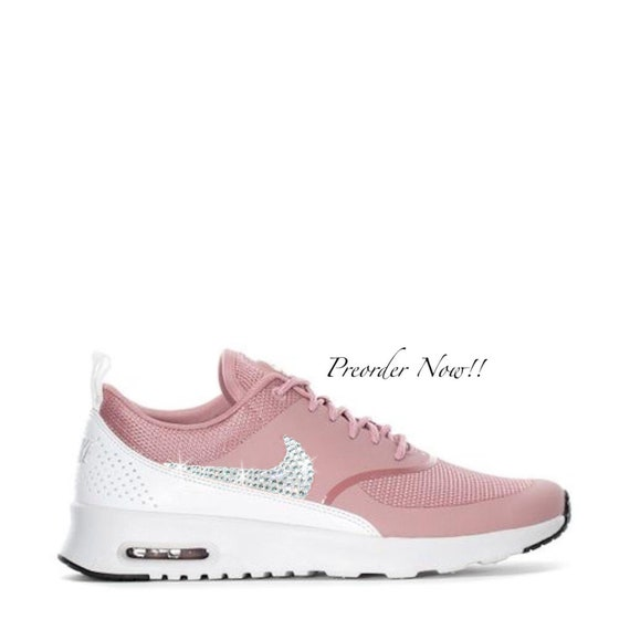 Swarovski Women's Nike Air Max Thea Rust Pink & White Sneakers Blinged Out With Authentic Clear Swarovski Crystals Custom Bling Nike Shoes