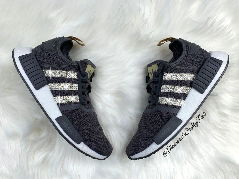 Swarovski Womens Adidas Originals NMD R1 Core Black Sneakers Blinged Out With Authentic Gold Swarovski Crystals Custom Bling Adidas Shoes