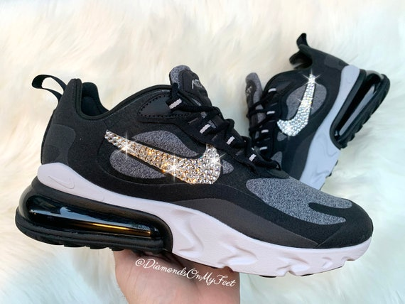 Swarovski Women's Nike Air Max 270 React Black & White Sneakers Blinged Out  With Authentic Clear Swarovski Crystals Custom Bling Nike Shoes
