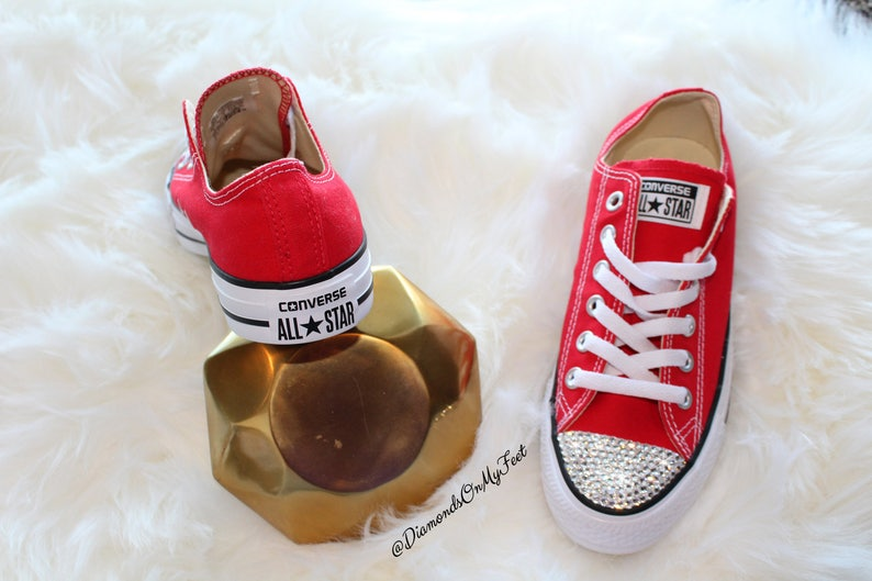 8a012b81d6a4 Swarovski Women s Converse All Star Chuck Taylor Red Low