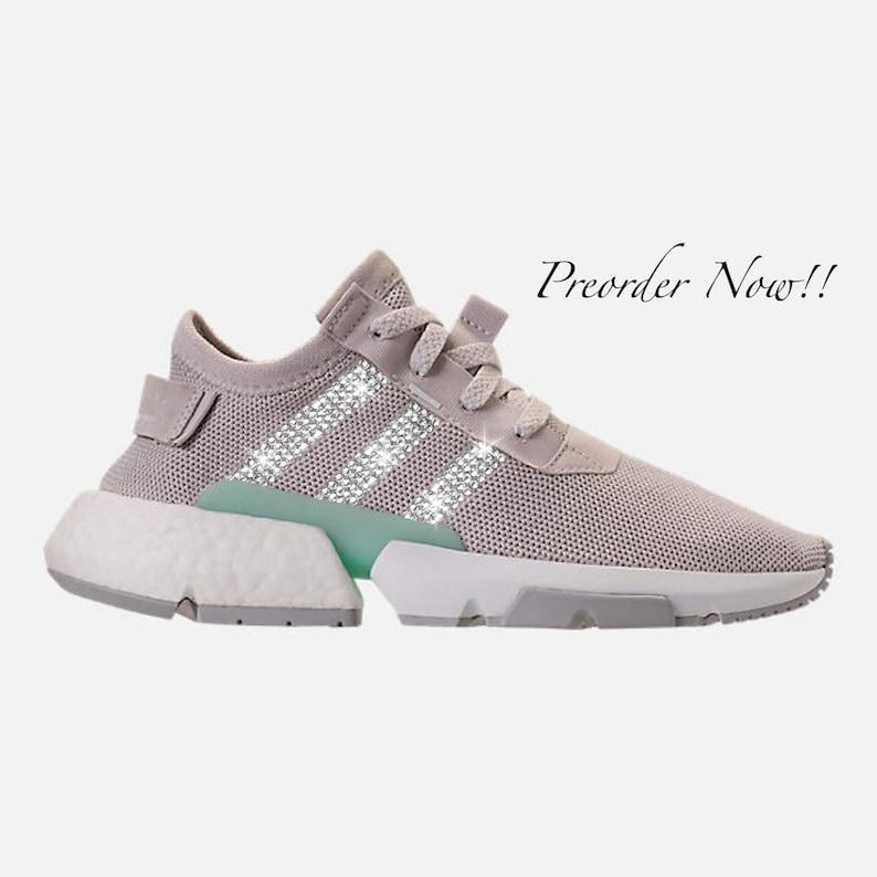 e3c78bdd9 Swarovski Women s Adidas Pod-S3.1 Grey   White Sneakers