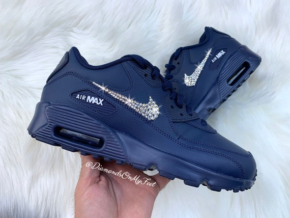 Swarovski Women's Nike Air Max 90 Midnight Navy Blue Sneakers Blinged Out With Authentic Clear Swarovski Crystals Custom Bling Nike Shoes