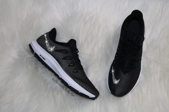 New Womens Nike Free Run 5.0+ Running Training Jogging Shoes Customized With Swarovski Elements Crystal Rhinestones Black White Silver