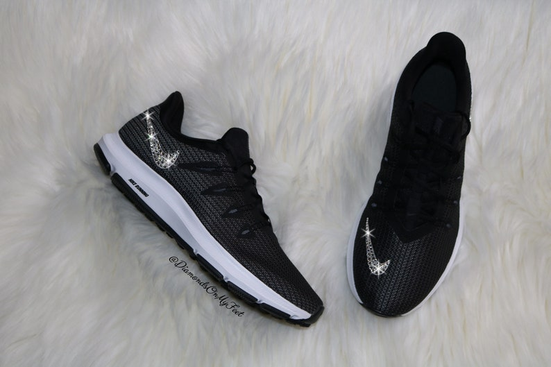0d0b73b4886e3 Swarovski Women's Nike Quest Free Run Black & White Sneakers Blinged Out  With Authentic Clear Swarovski Crystals Custom Bling Nike Shoes