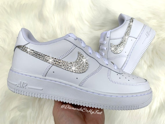 Swarovski Women's Nike Air Force 1 All White Low Sneakers Blinged Out With Authentic Clear Swarovski Crystals Custom Bling Nike Shoes