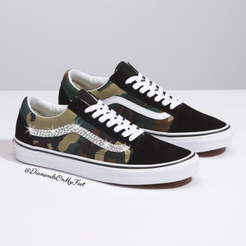 4b77ce4ca265c Swarovski Women's Vans Old Skool Green Camouflage Low Shoes Sneakers  Blinged Out With Authentic Clear Swarovski Crystals Custom Bling Shoes