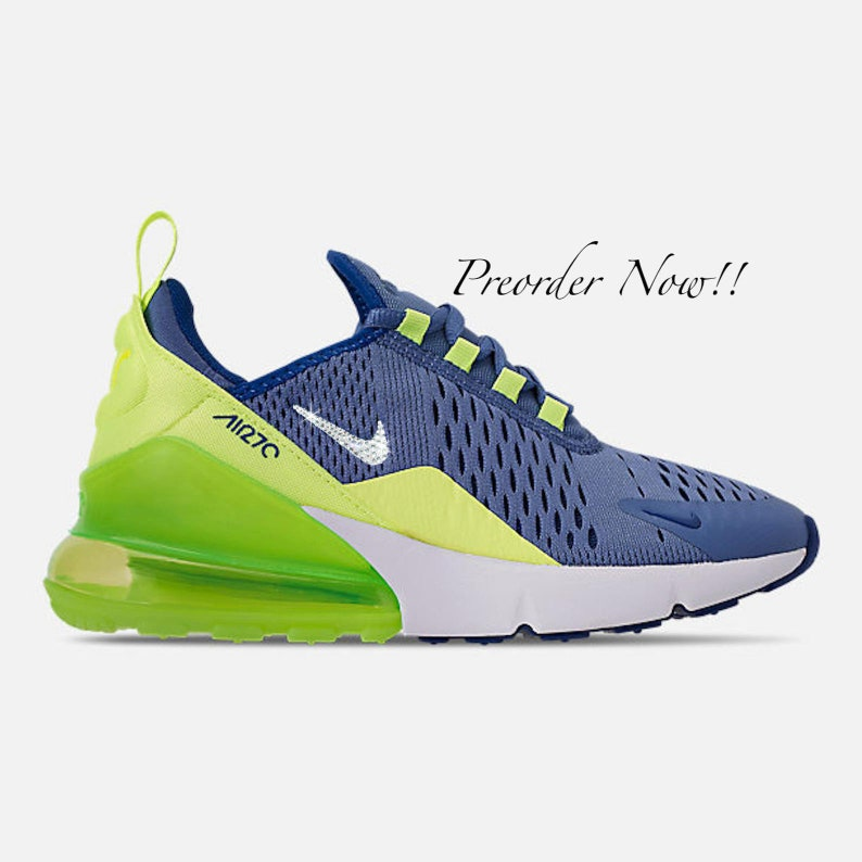 promo code 28d41 5eeaa Swarovski Women's Nike Air Max 270 Blue & Volt Green Sneakers Blinged Out  With Authentic Clear Swarovski Crystals Custom Bling Nike Shoes