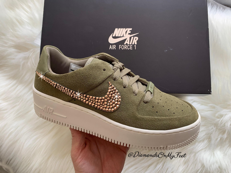 promo code f892d c74dd Swarovski Women s Nike Air Force 1 XX Sage Low Olive   Etsy