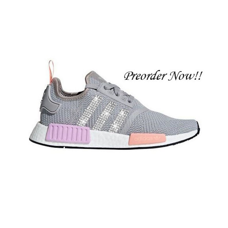 buy popular 0e81f d2fc1 Swarovski Womens Adidas Originals NMD R1 Light Gray Sneakers Blinged Out  With Authentic Clear Swarovski Crystals Custom Bling Adidas Shoes