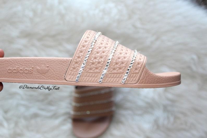 f98c8e842190 Swarovski Women s Adidas Adilette Dark Tan Slides Blinged