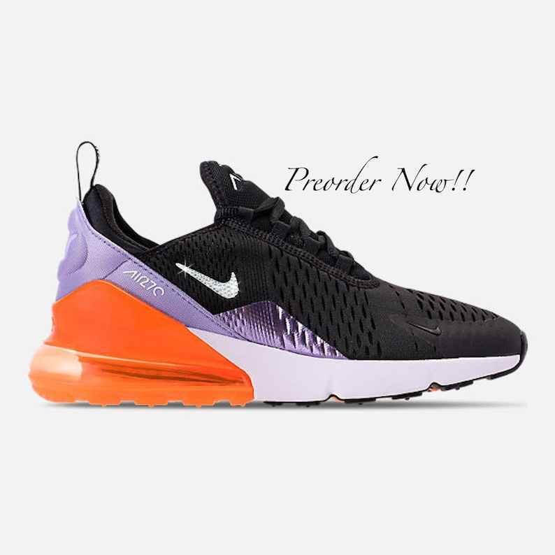 new product 4342f f067c Swarovski Women's Nike Air Max 270 Black Purple Orange Sneakers Blinged Out  With Authentic Clear Swarovski Crystals Custom Bling Nike Shoes